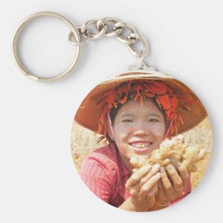 Señora birmana Picking Ginger Llavero Redondo Tipo Pin