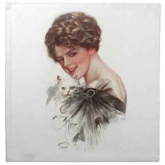 Señora blanca del gato de los americanos justos servilletas de papel
