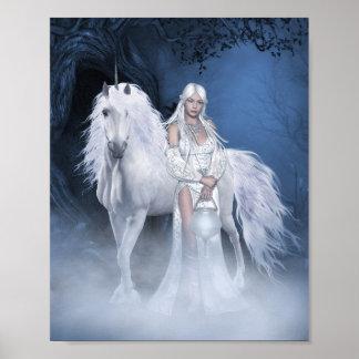 Señora blanca y poster del unicornio mini póster
