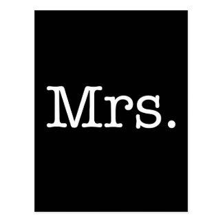 Señora blanco y negro cita del aniversario de boda tarjeta postal