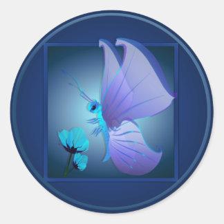 Señora Blue Butterfly Sticker Etiqueta