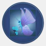 Señora Blue Butterfly Sticker Etiqueta Redonda