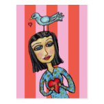 Señora Bluebird Hearts Love del arte popular de la Tarjeta Postal