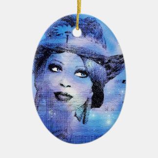 Señora Bluesy With Hat Ornament Adorno