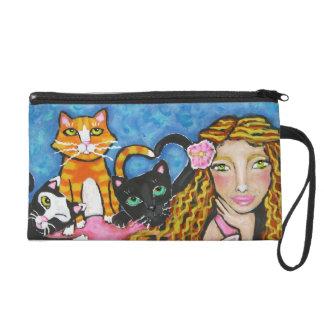 Señora bonita Art Wristlet/embrague del gato
