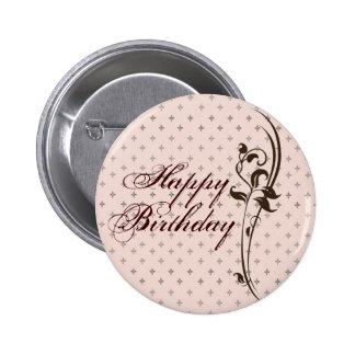 Señora bonita Button del feliz cumpleaños Pin Redondo De 2 Pulgadas