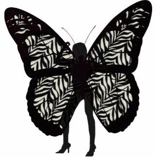 Señora bonita de la mariposa fotoescultura vertical