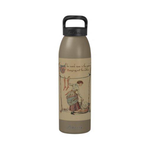 Señora bonita del vintage botellas de beber