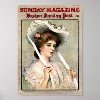 Señora bonita del vintage en la portada de revista impresiones
