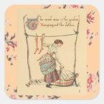 Señora bonita del vintage pegatinas cuadradas