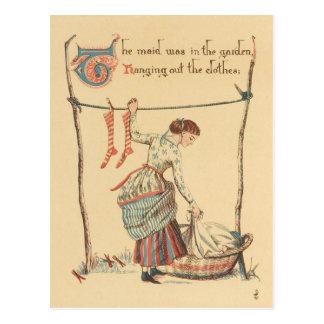 Señora bonita del vintage postal