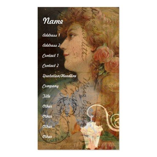 Señora bonita Vintage Digital Collage Tarjetas De Visita