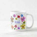 Señora Boss, taza de café grande de las flores