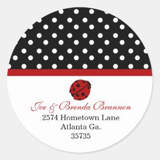 Señora Bug Address Stickers Etiqueta Redonda