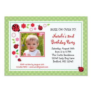 Señora Bug Birthday Photo Invitation Comunicados Personalizados