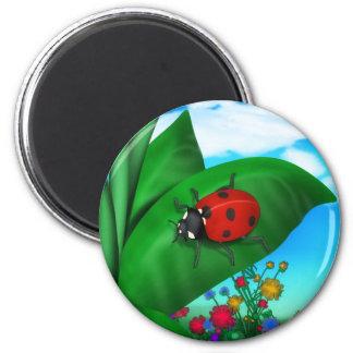 Señora Bug del dibujo animado Imán Redondo 5 Cm
