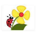 Señora Bug en la flor amarilla Tarjetas Postales