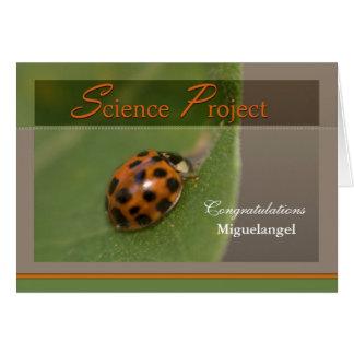 Señora Bug - enhorabuena en proyecto de la ciencia Tarjeta De Felicitación