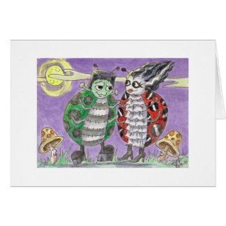 Señora Bug Halloween Frankenstein y novia en la Tarjeta De Felicitación