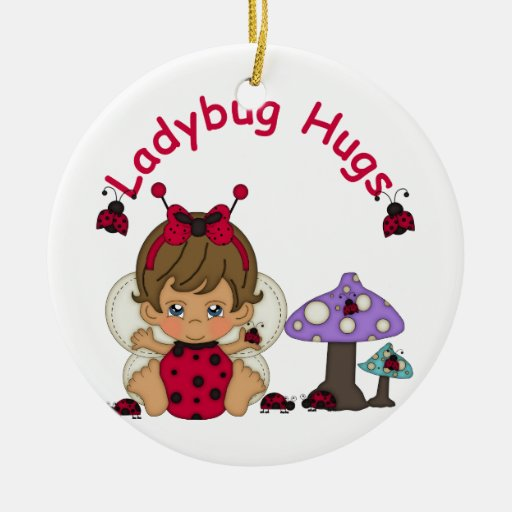 Señora Bug Hugs 2 Adorno Redondo De Cerámica