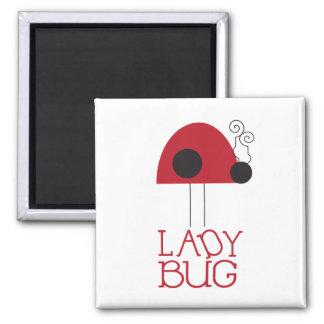 Señora Bug Magnet Imán Cuadrado