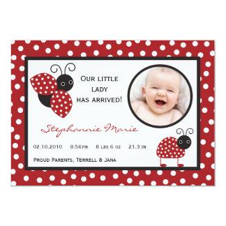 señora Bug Photo Birth Announcement del rojo Invitaciones Personalizada