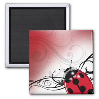 """Señora Bug Swirl"" (rojo) por Cheryl Daniels Imán Para Frigorifico"