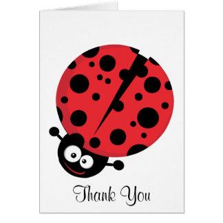 Señora Bug Thank You Note Tarjeta Pequeña