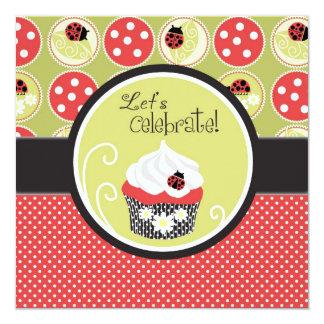 Señora Bug y cumpleaños de la magdalena Invitación 13,3 Cm X 13,3cm