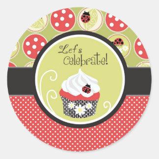 Señora Bug y cumpleaños de la magdalena Etiquetas Redondas