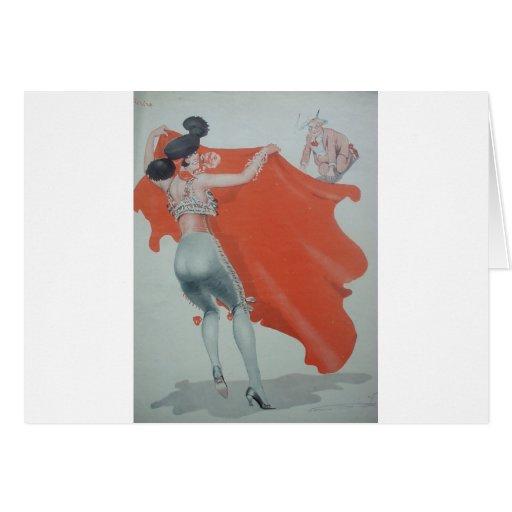 señora Bullfighter Holds Them Off de los años 20 Tarjeta De Felicitación