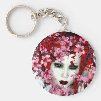 Señora Butterfly Keychain Llavero Redondo Tipo Pin