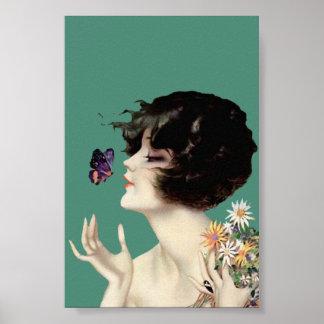 Señora Butterfly Pretty Flowers del art déco del v Poster