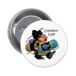 Señora Button del Ganchillo-y Pin Redondo 5 Cm