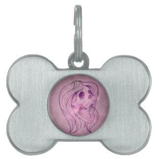 Señora cantante Skull, rosado Placa Mascota