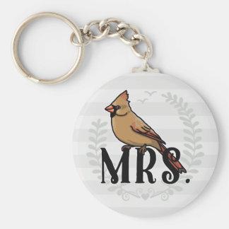 Señora Cardinal Sr. y señora His y el suyo Llavero Redondo Tipo Pin