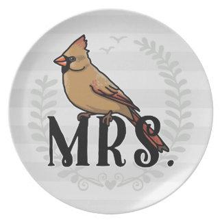 Señora Cardinal Sr. y señora His y el suyo Plato De Comida