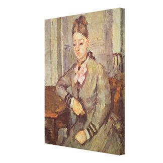 Señora Cezanne Leaning en una tabla, 1873-77 Impresiones En Lona Estiradas