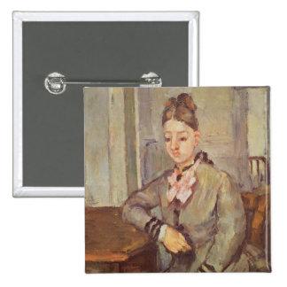 Señora Cezanne Leaning en una tabla, 1873-77 Pin Cuadrado