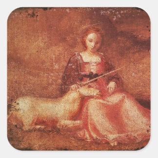 Señora Chastity Holding Unicorn Pegatina Cuadrada