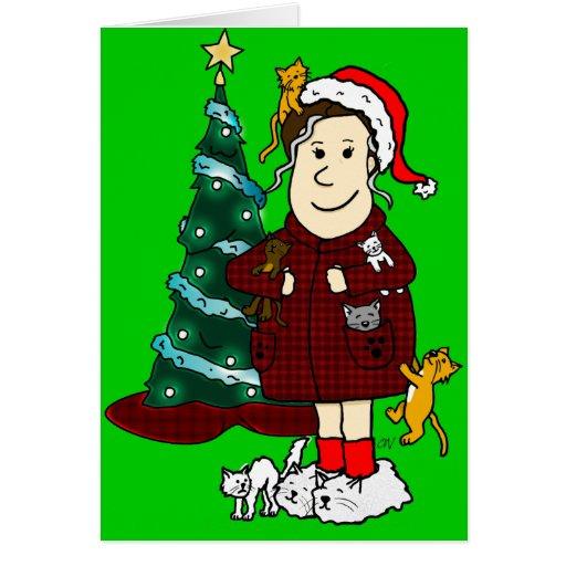 'Señora Christmas' loco del gato Felicitacion