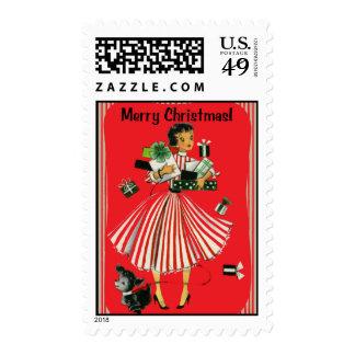 Señora Christmas Stamp de las compras del Sellos