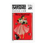Señora Christmas Stamp de las compras del Vintage-
