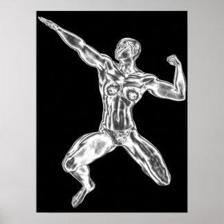 Señora Chrome Bodybuilder Pose Poster