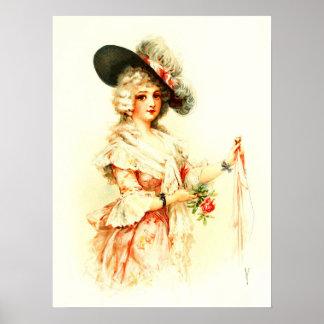 Señora Clara Vere De Vere con un gorra de la pluma Póster