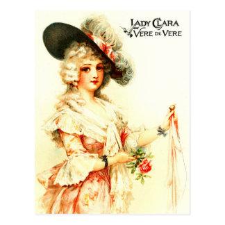 Señora Clara Vere De Vere con un gorra de la pluma Tarjetas Postales