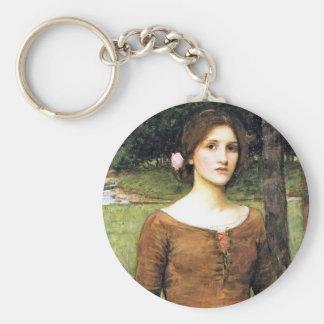 Señora Clare con un cervatillo Llavero Redondo Tipo Pin