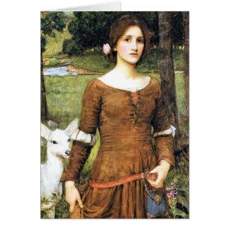 Señora Clare con un cervatillo Tarjeta De Felicitación