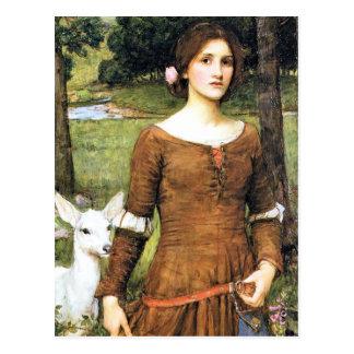 Señora Clare con un cervatillo Postal