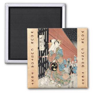 Señora clásica del geisha del vintage japaese fres imán cuadrado